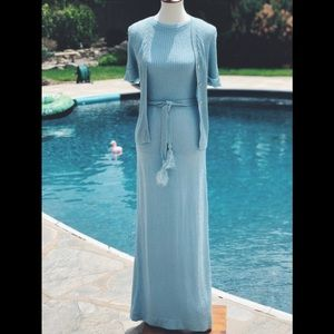 Vintage blue Howard Lawrence belted long dress 6